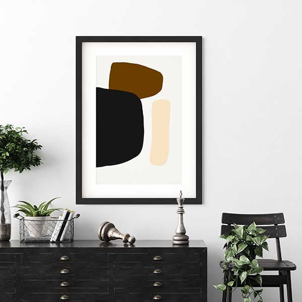 Modern framed print on a wall