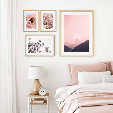 Pastel Pink Floral Gallery Wall Bedroom Art by Abstract House Fine Art Photography