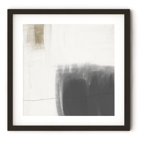 Neutral abstract brush strokes on square art print