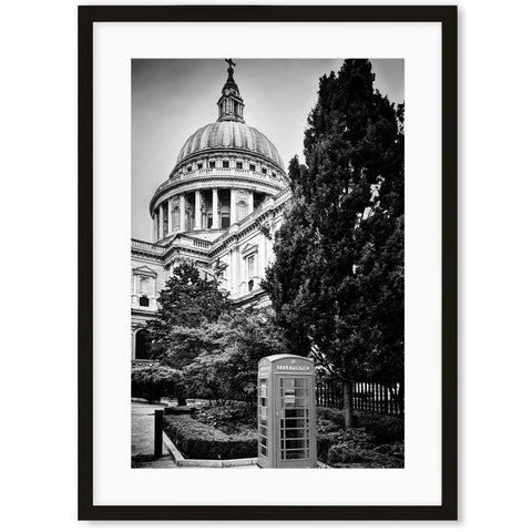 black and white image of the iconic St. Paul's Cathedral in London