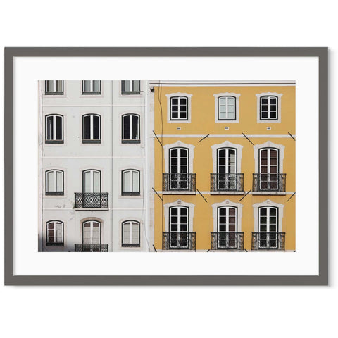 yellow and white parisien townhouses juliet balcony hallway wall decor cityscape wall art
