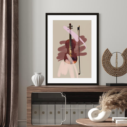 Picture of violin layered with pink and burgundy paint strokes