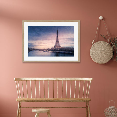 romance in Paris skyline at sunset impressionist art for your home office blues purples terracotta