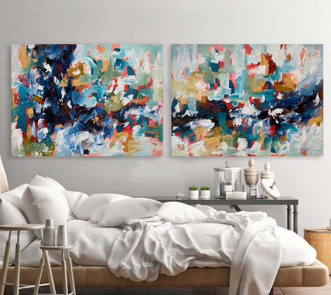 ocean inspired abstract art set of 2 original paintings for your bedroom interior