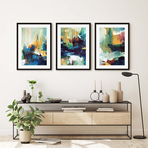 modern gold abstract landscape framed print set ideal home decorating living room ideas