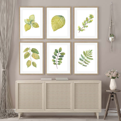 grid gallery wall botanical art for your hallway