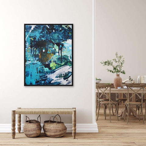 blue abstract art statement piece for your hallway wall decor