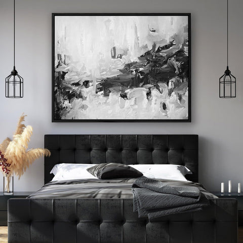monochrome black and white canvas abstract art for your bedroom wall decor