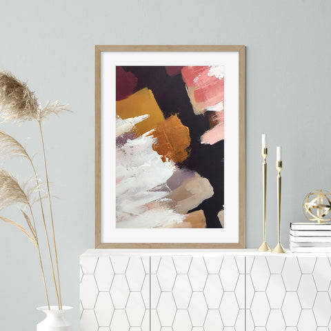 modern stylish abstract art print luxe living room ideas gold pink interiors modern home design