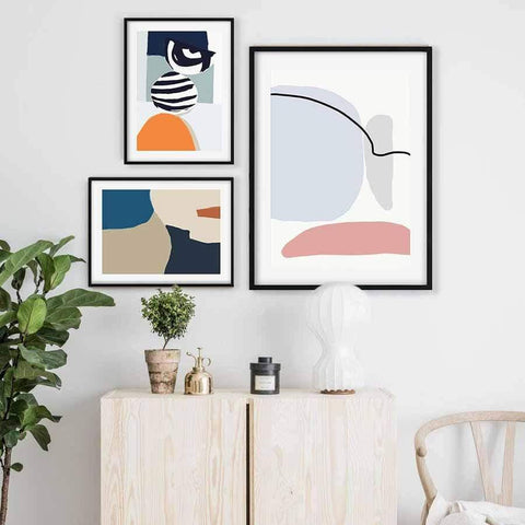 modern abstract gallery wall shapes and colour coral pink orange