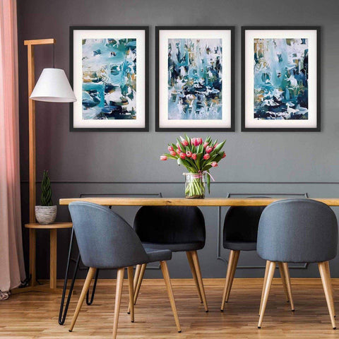 teal waves abstract art dining room statement gallery wall feature wall