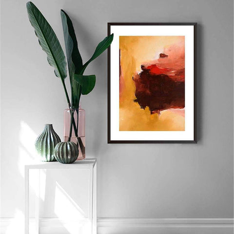 abstract art to decorate your bedroom walls yellow red brown