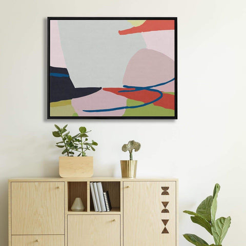 Abstract pink, blue, red, black, and green shapes on canvas