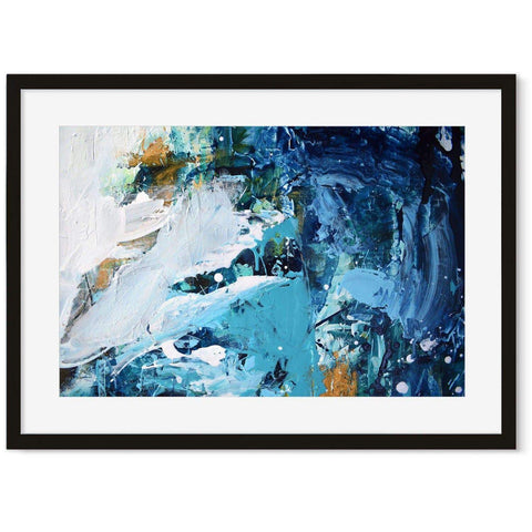 waves ocean water green orange white blue abstract art for modern workspace home office wall decor