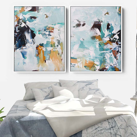 luxe teal abstract prints on canvas by abstract house