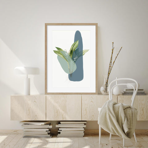 modern botanical abstract leaf print living room stylish art ideas