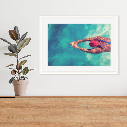 swimming art print poster fine art prints turquoise waters