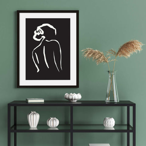 black and white wall art line art nude female drawing living room interiors