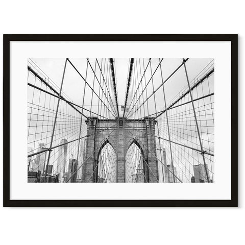 brooklyn bridge black and white photography art for loft interiors industrial bedroom