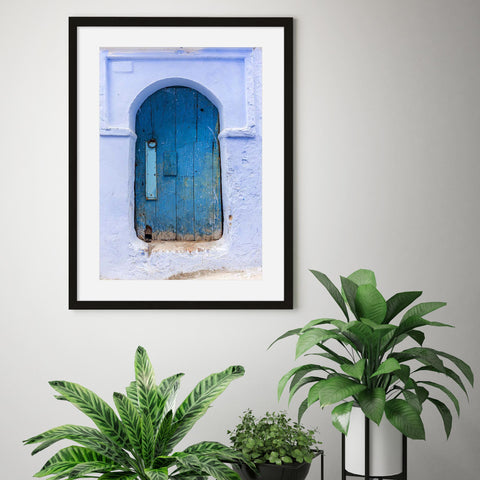 blue Moroccan door photograph wall art for serene calm home office for productivity