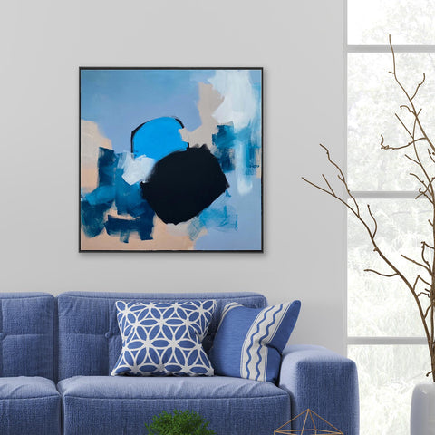 blue abstract art original painting shapes