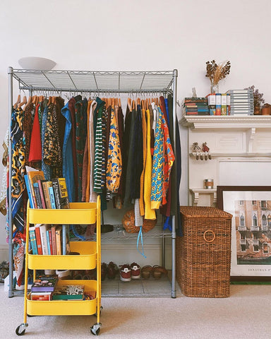 yellow book trolley clothes rail colourful relaxed interiors