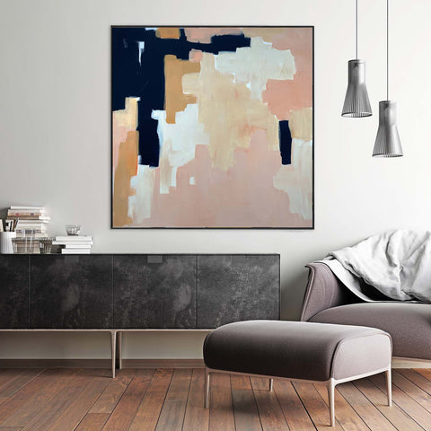 candy blush pink living room wall decor original painting abstract art