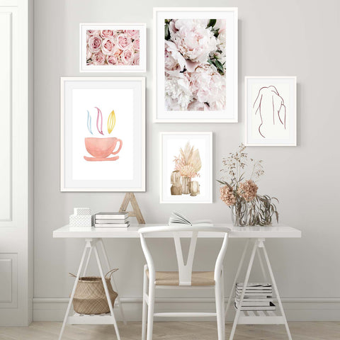 floral watercolour gallery wall blush botanical art fine art photography and nude female figure line art