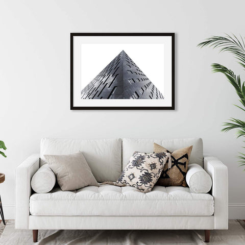 Black and white photograph of geometric architecture