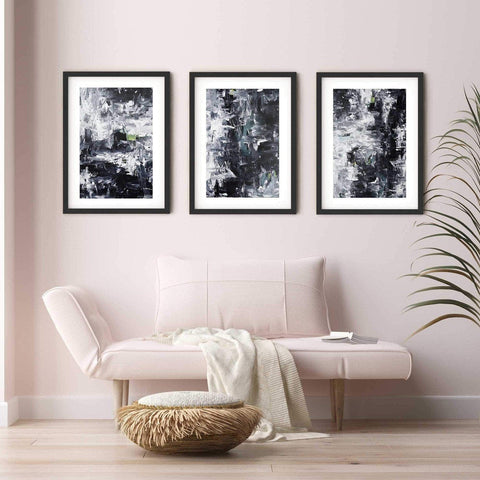 living room art monochrome abstract art pastel pink chaise lounge