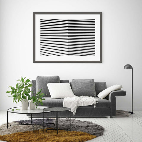 Black and white abstract photograph of architectural lines