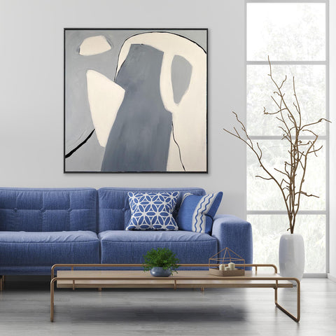 grey neutral original artwork abstract art for your dining room ideas