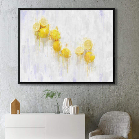 vibrant lemons on brushed white still life painting canvas art for your bedroom wall decor