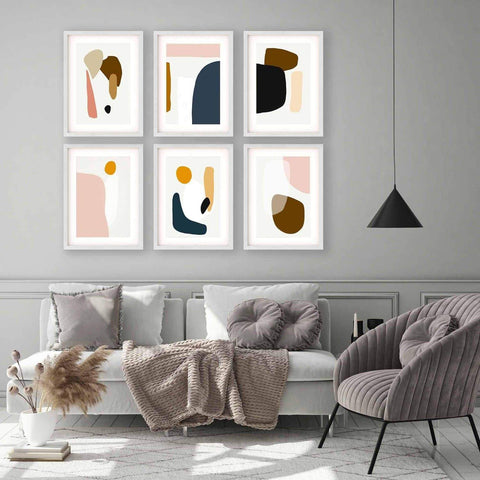 colourful abstract shapes art print living room decor