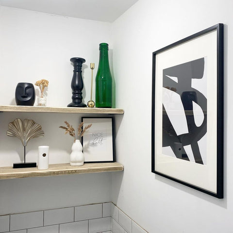 minimal black and white interior design monochrome abstract bathroom wall art green accent