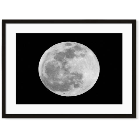 Black and white moon art print framed photography