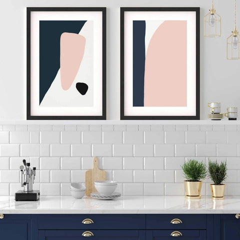 navy and pink blush abstract art prints geometric set of two prints for modern kitchen interiors