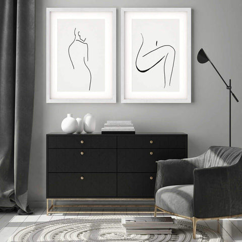 nude female form line art figurative drawing for minimal bedroom