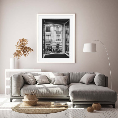 Black and white photograph of a parisian window view