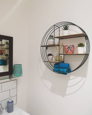 bathroom shelfie geometric shelves