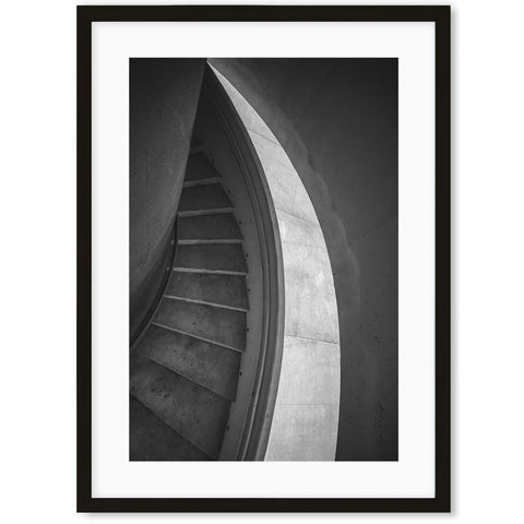 Monochrome architecture staircase art prints for living room