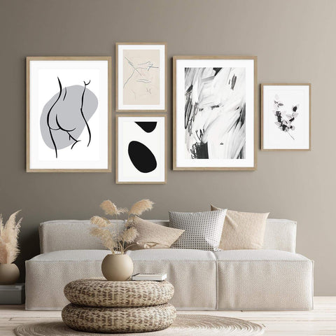 neutral gallery wall brown abstract