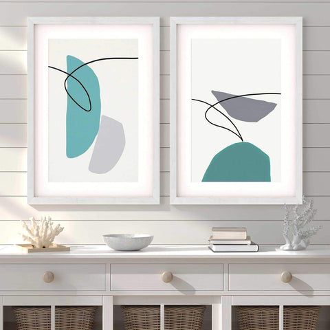 teal grey shapes abstract art for your dining room scandinavian design contemporary interiors
