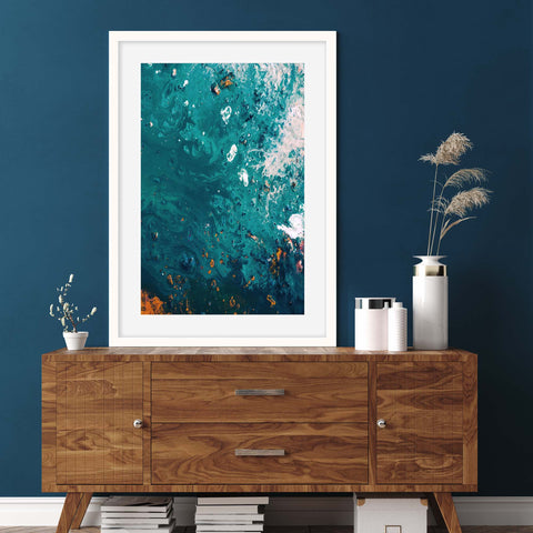 ocean wall decor for your bedroom teal waves inspired abstract art