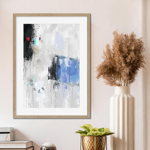 white black blue abstract art brushed home decor for office