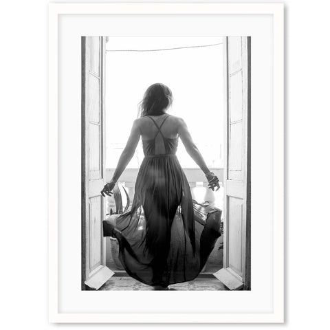 black and white photography female portrait at balcony living room wall decor