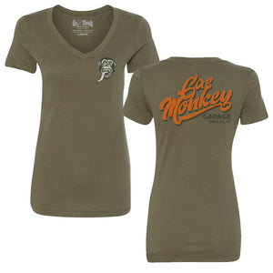 Ladies Retro Monkey V-Neck