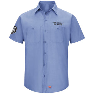 Blue Embroidered Work Shirt