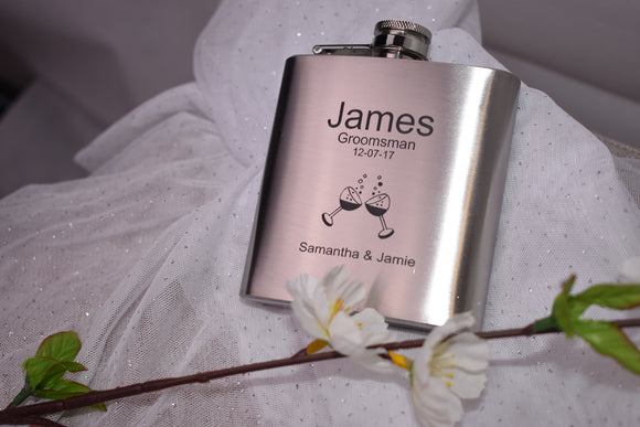 Personalised silver hip flask