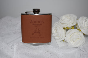 Personalised silver/leather hip flask